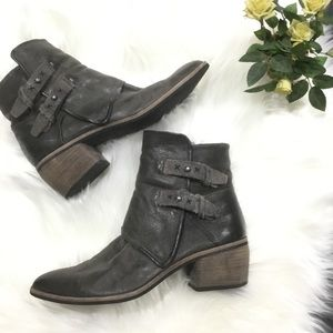Dolce Vita gray leather buckle ankle booties 8.5